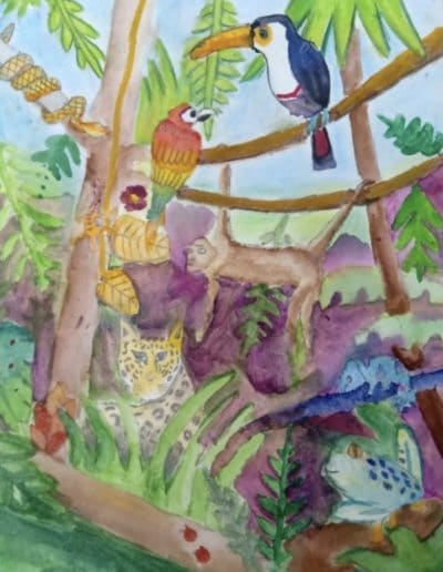 2021 Jan Riya dara. Mixed media rainforest Previous Art of the Month