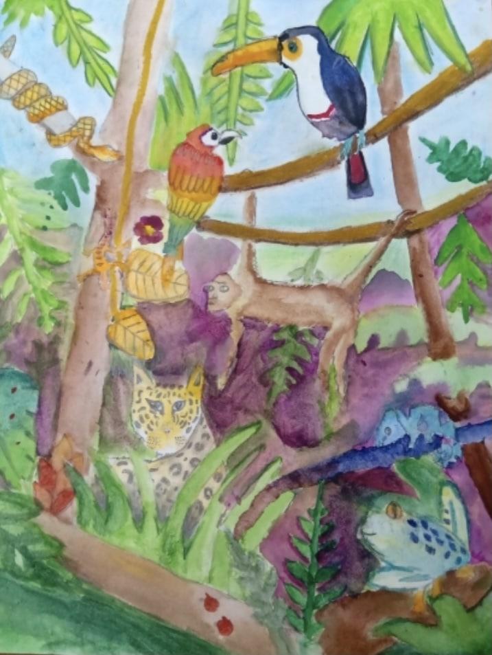 2021 Jan Riya dara. Mixed media rainforest Student Work