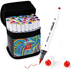 SPREEY 50 Colors Alcohol Brush Markers Dual TipsBrush Chisel 1 Colorless Alcohol Marker Blender Art Alcohol Markers Set for kids Drawing Coloring Adult Illustration Artist Sketching Supplies