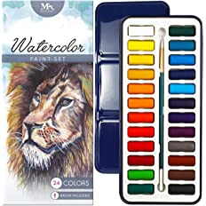 Mozart Watercolor Paint Essential Set 24 Vibrant Colors Lightweight and Portable Supplies